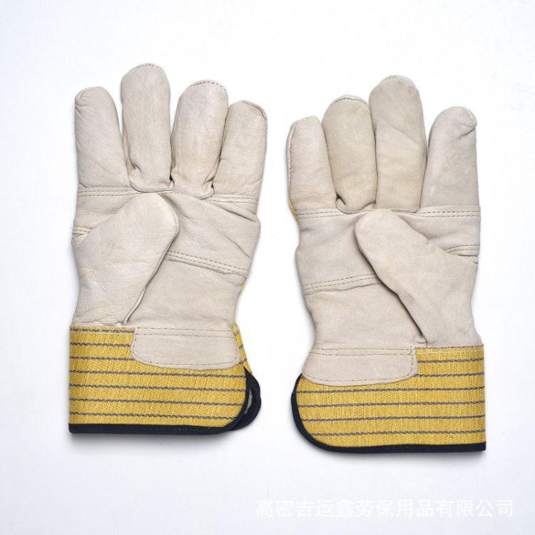单层牛皮加棉焊工手套 驳掌加棉防寒舒适耐高温电焊手套防割舒适