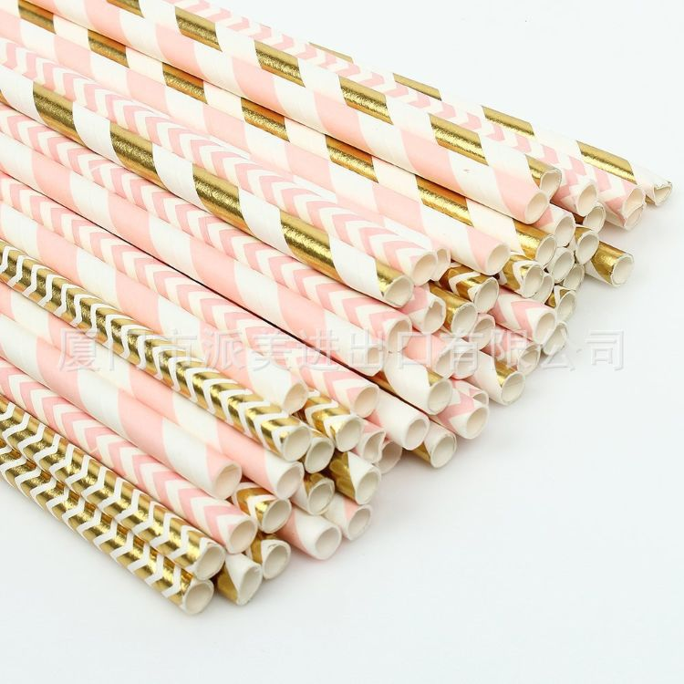 100pcs粉金吸管套装 派对一次性环保纸吸管可降解牛皮纸