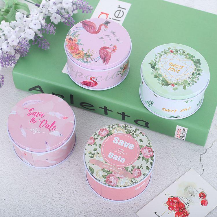2018新款结婚圆形糖果盒马口铁盒子欧式婚礼礼盒抖音火烈鸟喜糖盒