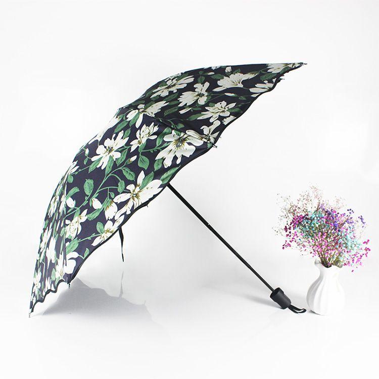 百合花晴雨二用 折叠太阳 黑胶防紫外遮阳雨伞 男女太阳黑胶伞