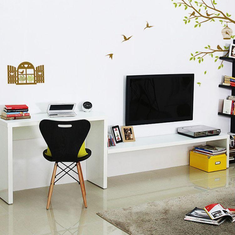 可定制电视柜简约卧室双人电脑桌客厅书桌组合梳妆台学习一体桌