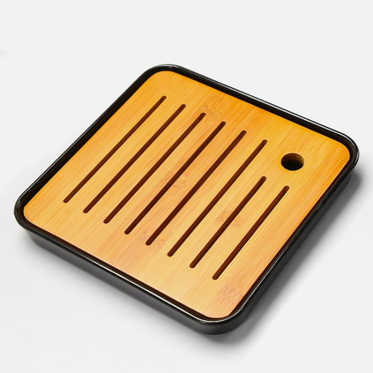 四方黑密胺盘简约家用干泡茶盘 家用日式储水迷你小茶台 圆形竹托盘