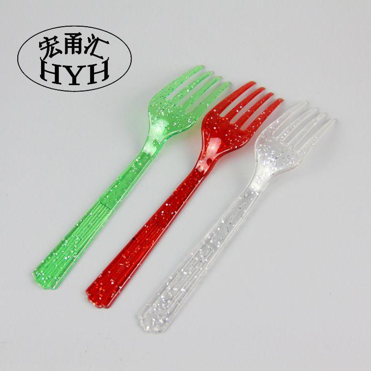 批发餐饮用品塑料餐具彩色叉子 西餐蛋糕叉 沙拉水果叉子
