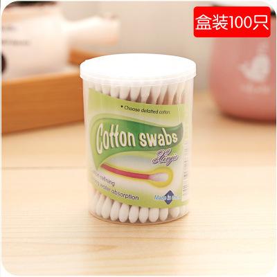 064601批发 100支软袋木棒双头棉签 卫生棉棒美容棒 化妆棉棒