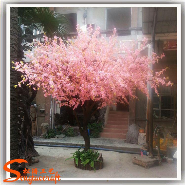 人造植物仿真树桃花大型室内装饰仿真桃花枝假桃花树盆栽