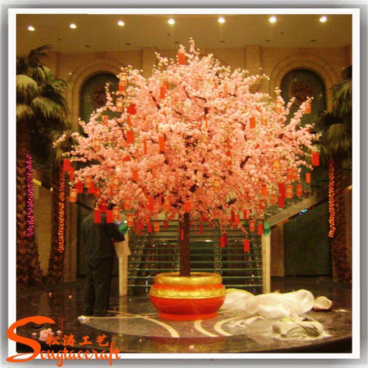 厂家直销年花新年仿真桃花树人造许愿树酒店装饰樱花树批发