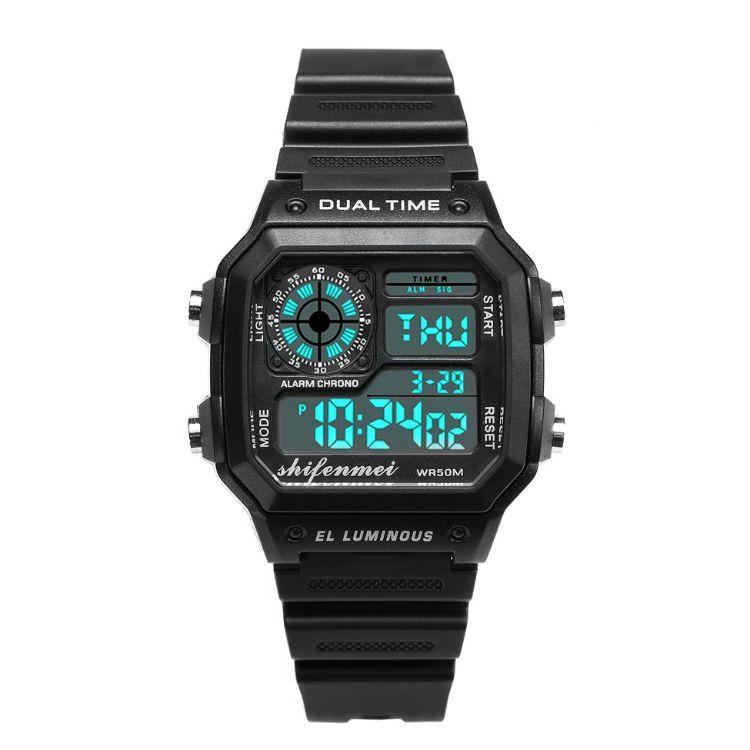 速卖通外贸热销时尚创意数显男款户外运动防水夜光多功能电子手表