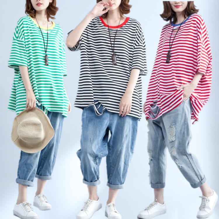 加肥加大码条纹短袖T恤女胖mm2018夏装新款宽松破洞纯棉百搭上衣