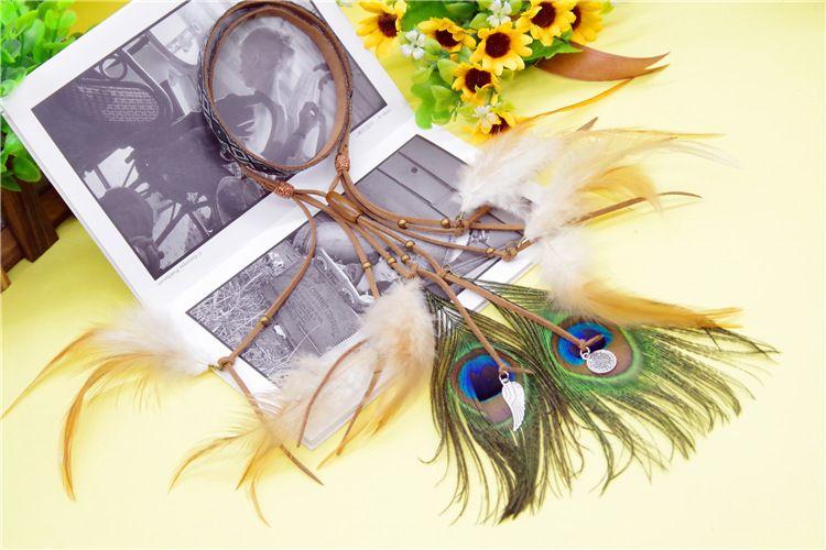 波西米亚民族风吉普赛花边仿牛皮复合系列羽毛头带头箍个性头绳