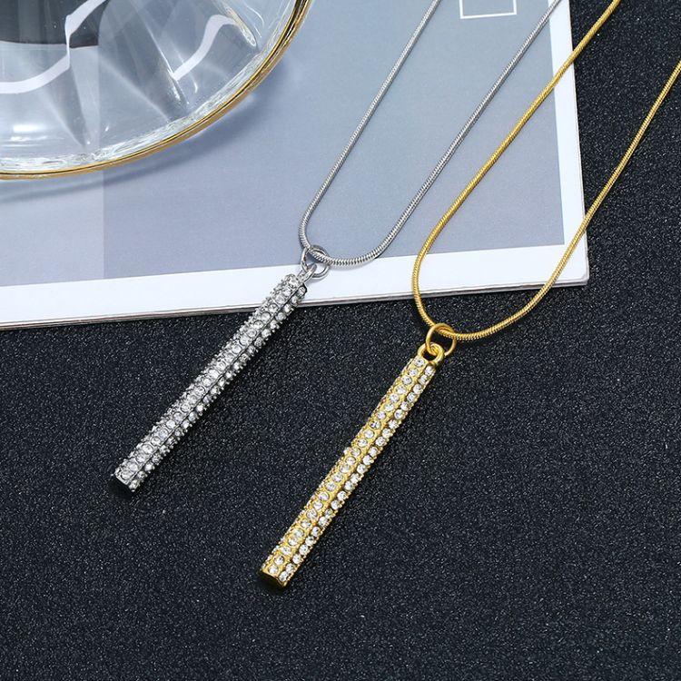 韩版时尚满钻超闪六棱柱项链  气质一字形长吊坠蛇链短款毛衣链