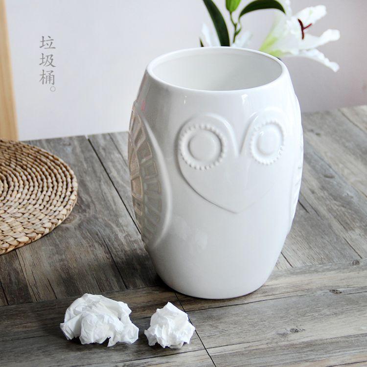 陶瓷垃圾桶收纳桶废纸篓家用