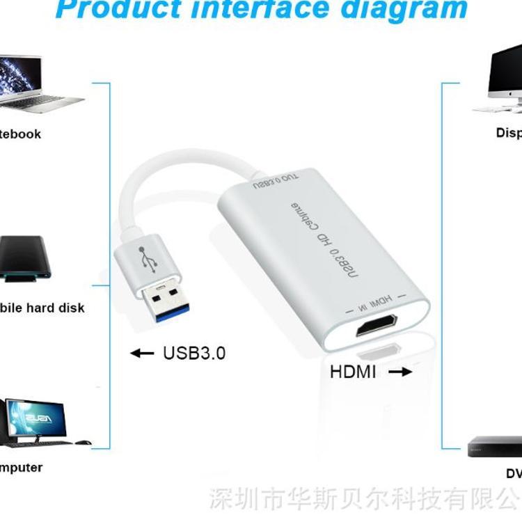 USB采集卡, HDMI TO USB3.0音视频采集卡,USB Capture 跨境爆款
