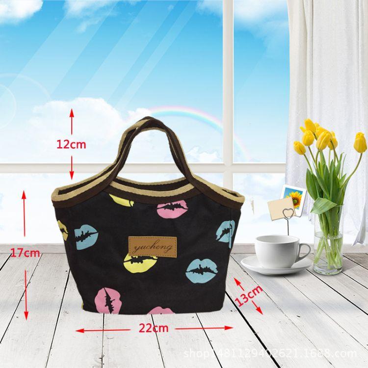 加厚保温便当袋 手提收纳包 印花饭盒袋 厂家批发 大容量便当袋