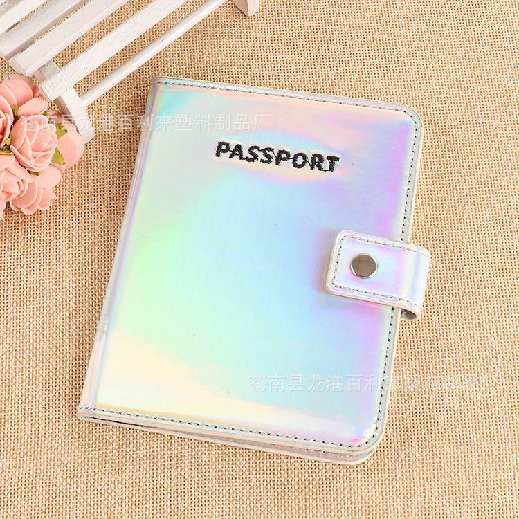 多功能搭扣机票证件护照包 韩版个性镭射旅行护照夹 可加工定制