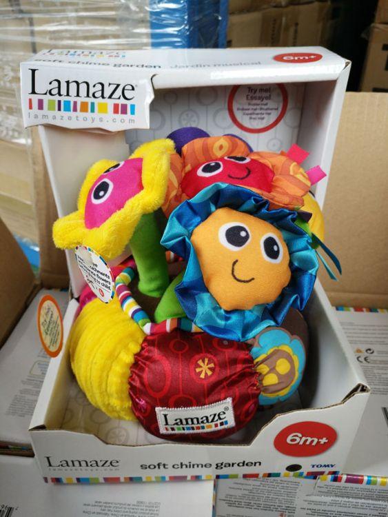 TOMY多美品牌拉玛泽LAMAZE婴幼儿布绒车挂床挂玩具花朵触摸有音乐
