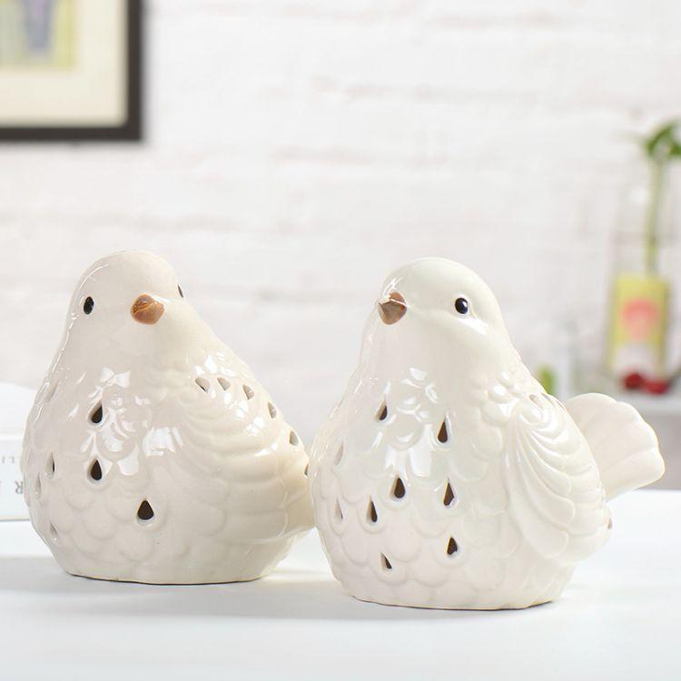 定制logo陶瓷摆件  陶瓷情侣小鸟陶瓷礼品定制 陶瓷礼品套装定制