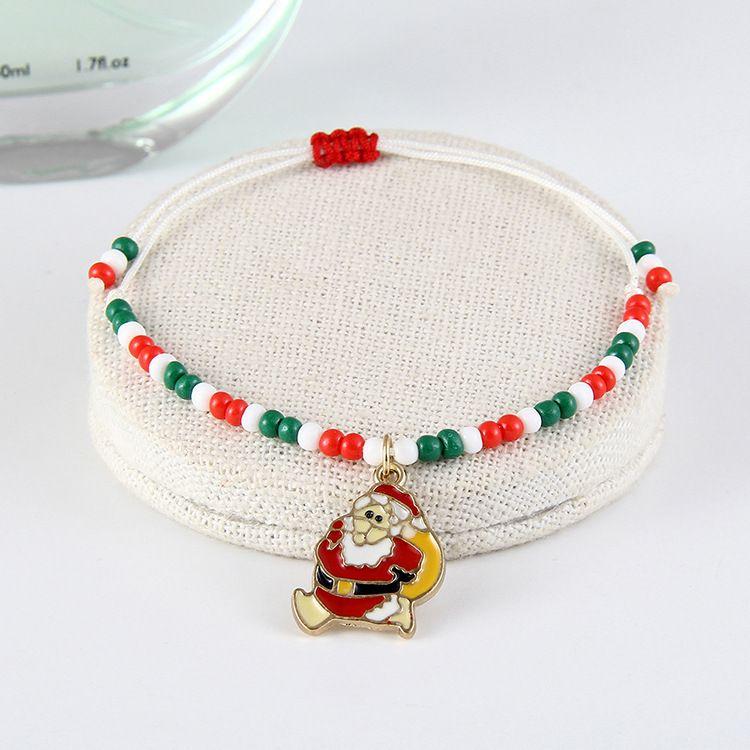 wish新款欧美圣诞节礼物小礼品批发 圣诞老人手链 跨境电商饰品