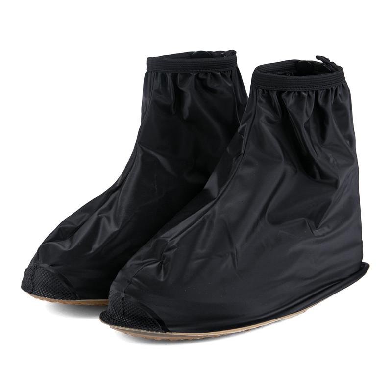 防雨鞋套防水鞋套 男士平跟低筒防水鞋套加厚防滑防雨黑白色批发