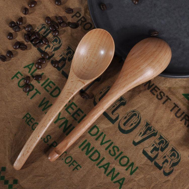 新品创意木质勺叉筷子成人榉木柄便携套装餐具旅行日式尖柄勺礼品