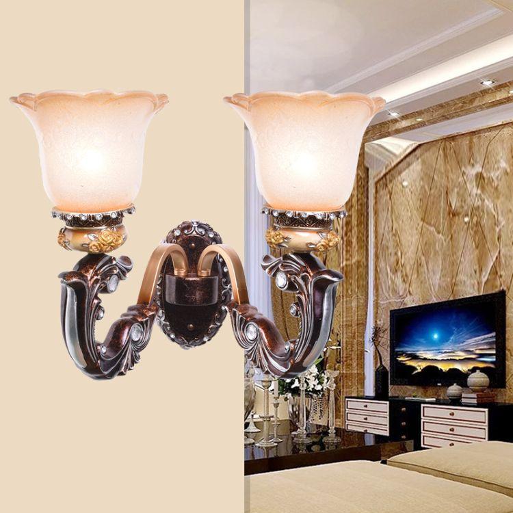欧式壁灯床头灯卧室过道客厅灯具创意墙灯楼梯灯简欧树脂壁灯批发