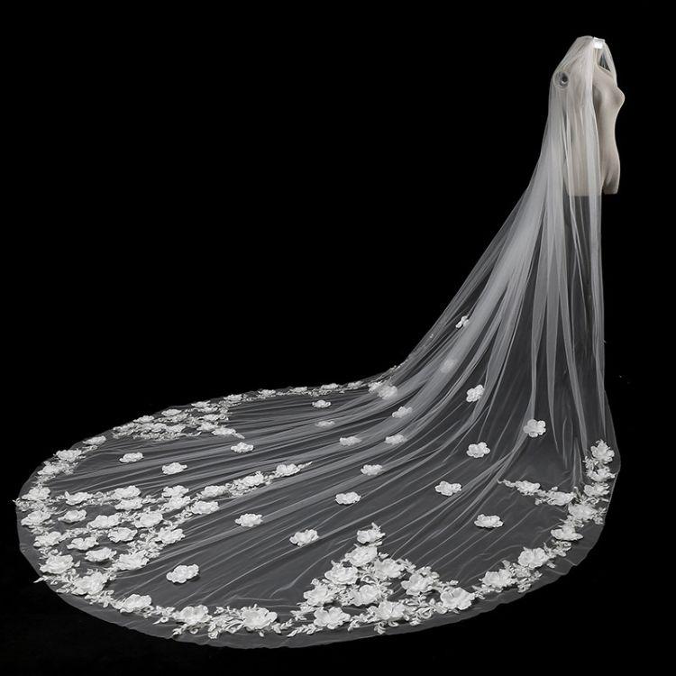 厂家直销2017新款结婚蕾丝头纱 高品质新娘花瓣包边头纱