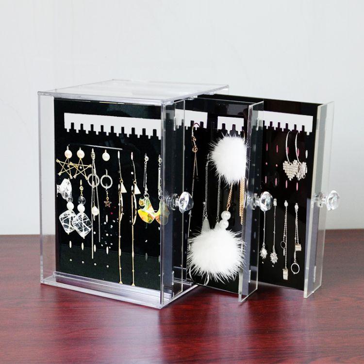 耳环架子展示架家用收纳 挂项链耳饰饰品架大容量透明首饰盒简约