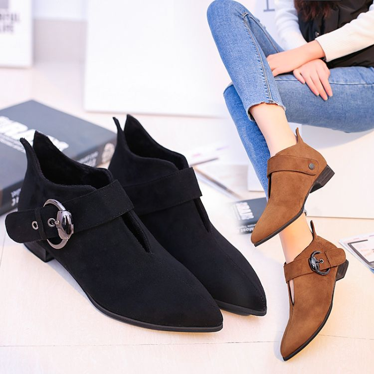 女靴2018新款纯色欧美皮带扣短靴粗跟绒面少女舒适低筒女裸靴批发