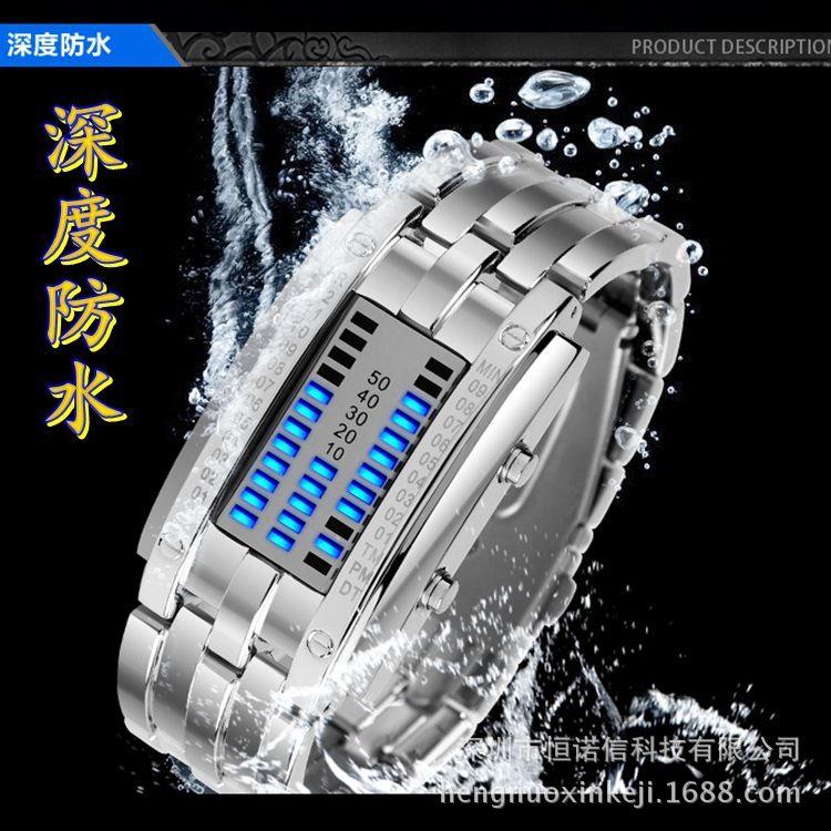 厂家直销批发防水高档钨钢情侣表韩版男士二进制双排LED爆款手表