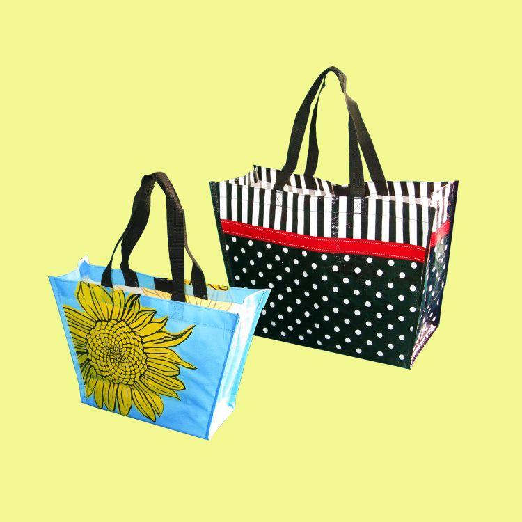 手提式环保可折叠防水购物袋 无纺布超市购物袋 圆点葵花图束口手提袋