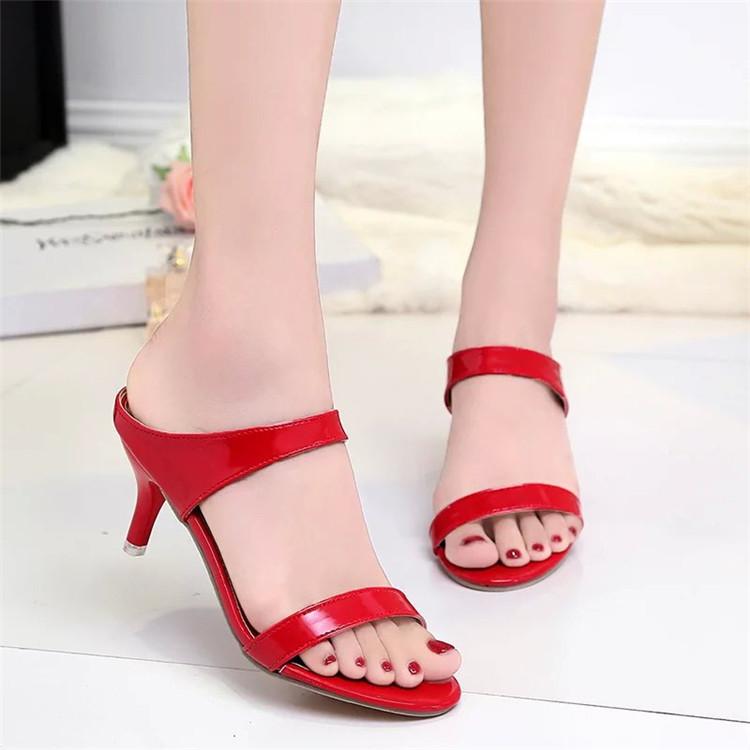 凉鞋女夏季新款性感红色高跟细跟凉鞋一字扣带露趾鱼嘴女鞋潮