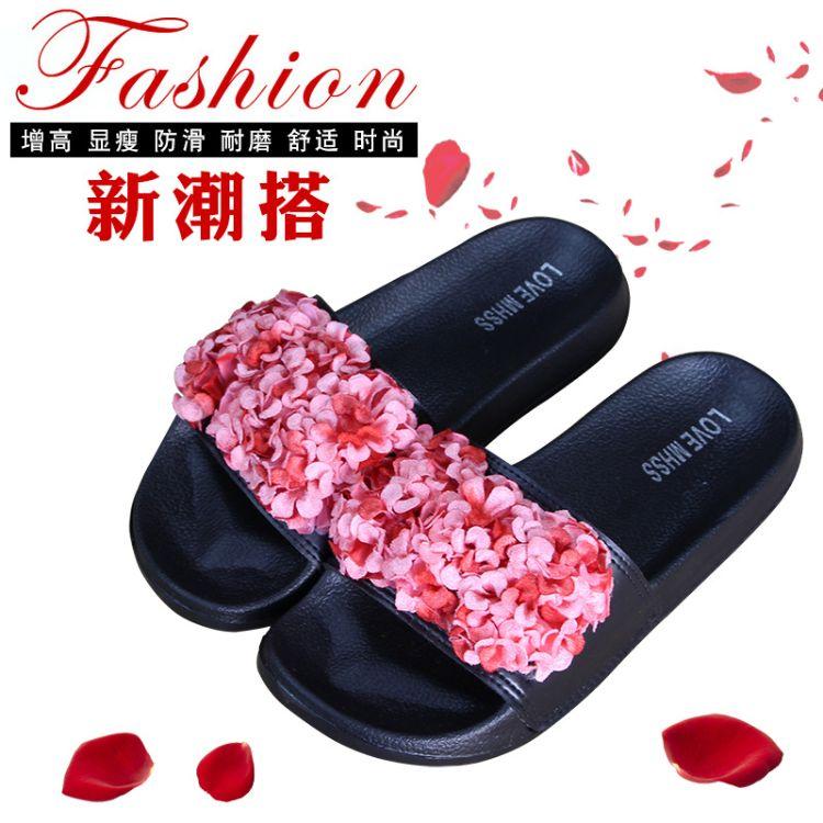 厂家批发2018夏季新款时尚韩版花朵装饰一字拖室内外凉拖女拖鞋