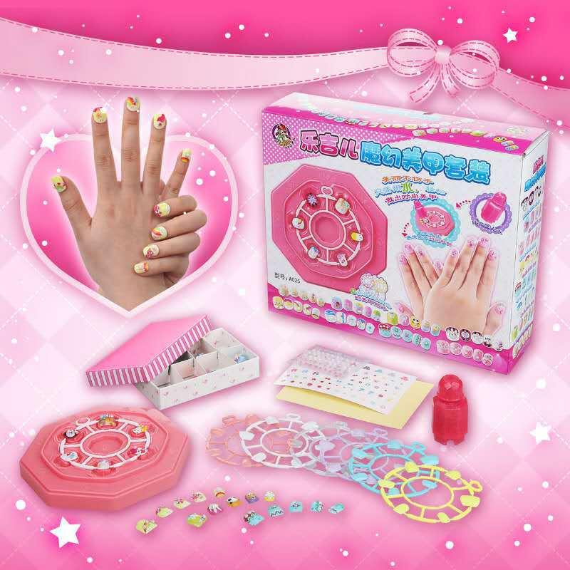 乐吉儿儿童手工指甲套装益智手工魔幻美甲女孩过家家玩具化妆饰品