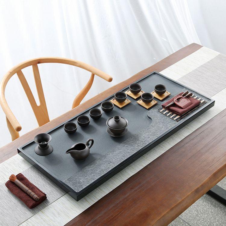 整块乌金石茶盘天然石材简约石头茶台家用茶海茶具套装大小号定做