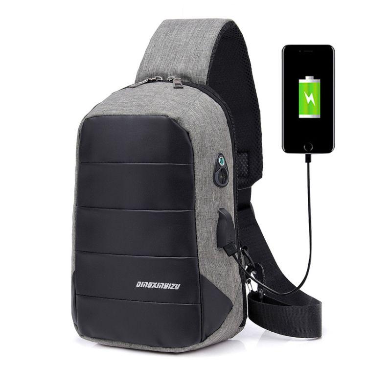 新款男士包单肩USB斜挎包 韩版牛津布斜背包 运动休闲包男士胸包