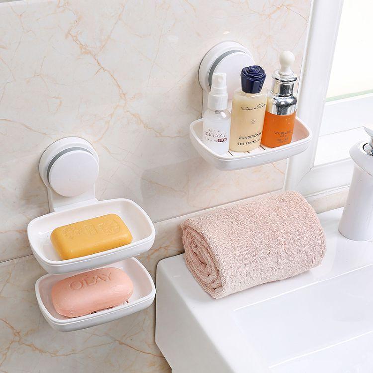 肥皂盒 吸盘壁挂香皂架免打孔皂盒沥水卫生间肥皂架壁挂式 香皂盒