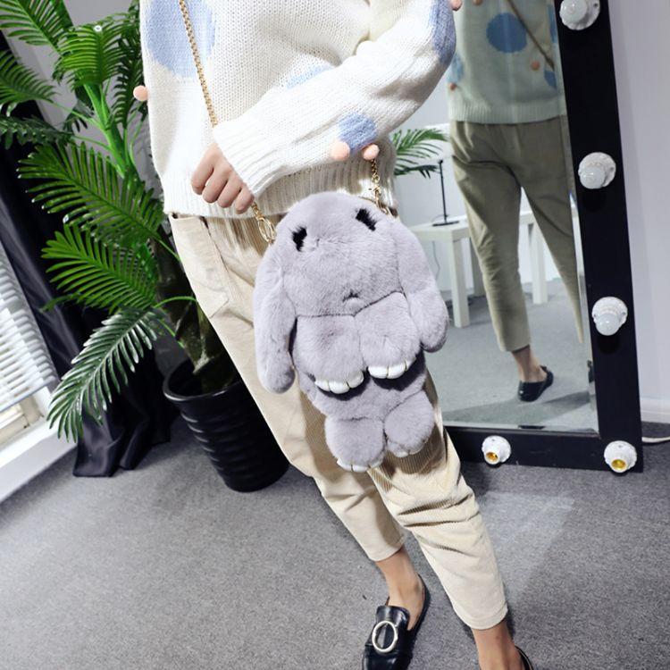 女包獭兔毛背包单肩真皮双肩包包可爱萌萌兔卡通兔链条背包斜挎