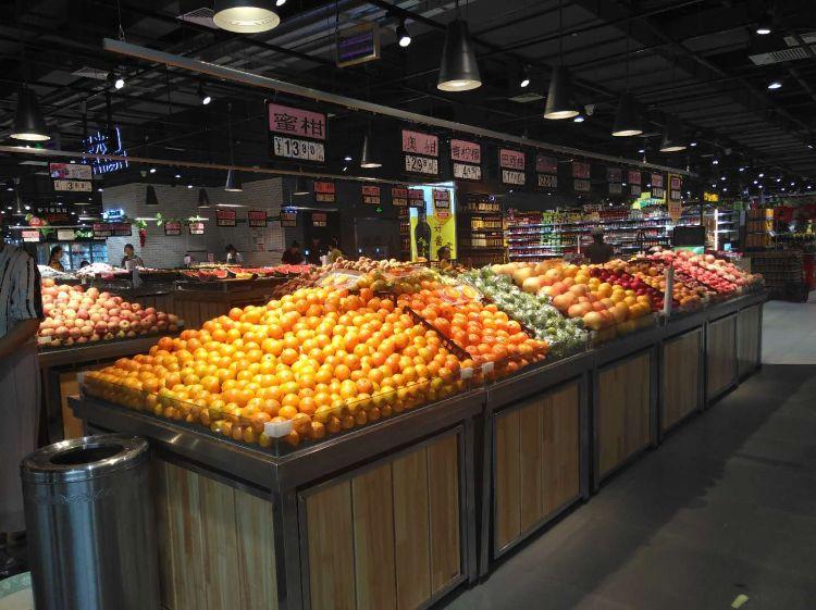 厂家直销超市水果蔬菜展示架 钢木生鲜多层货架陈列柜定制批发