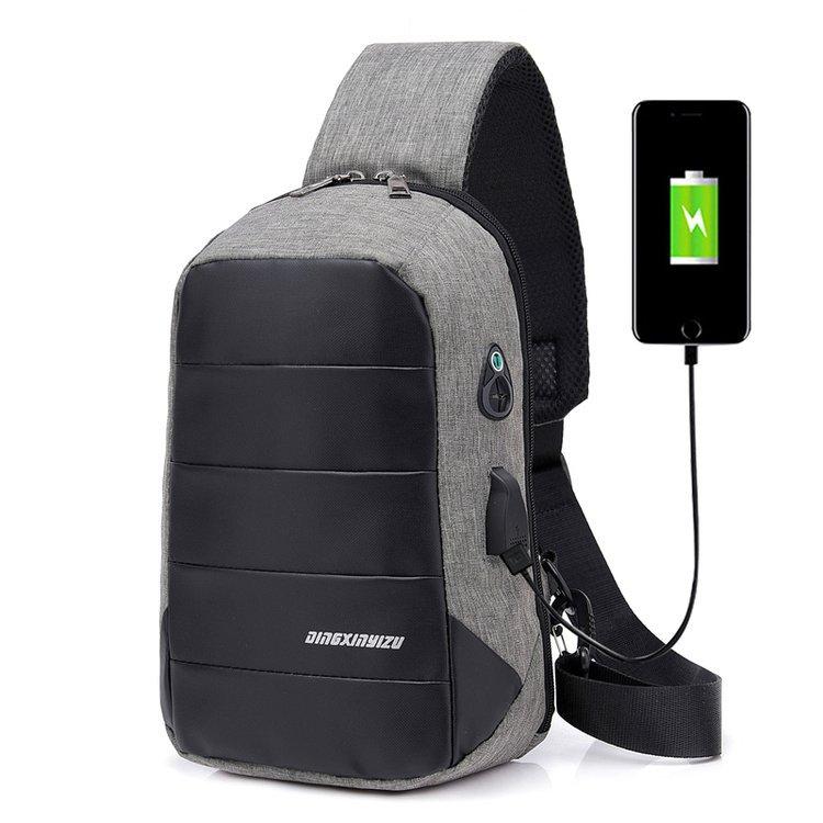 智能充电胸包休闲印花斜挎包时尚旅行电脑包一件代发厂家直销