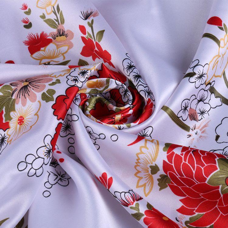 仿真丝印花弹力色丁 复古面料汉服和服礼服布丝巾面料 工服装饰布