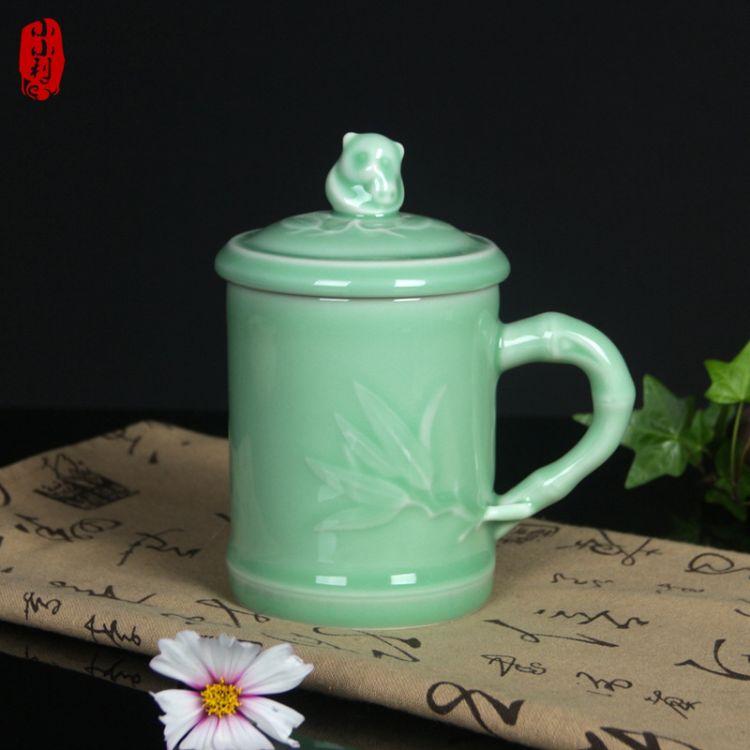 龙泉青瓷办公室水杯紫砂冰裂茶杯陶瓷个人泡茶杯带盖杯马克杯熊猫