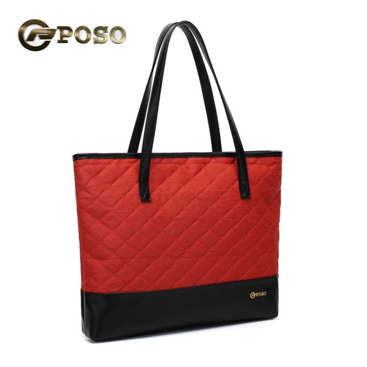 poso厂家直销新款欧美时尚小香风斜挎包软皮女包菱格单肩包大包