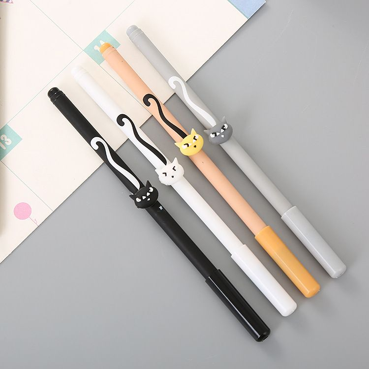 厂家直销卡通笔杆猫中性笔可爱学生文具针管水性笔创意办公签字笔
