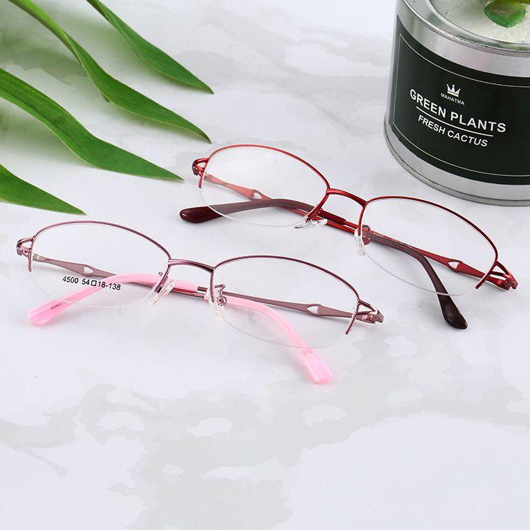霸龙优雅时尚光学镜简约金属半框眼镜树脂镜片女士平光镜一件代发