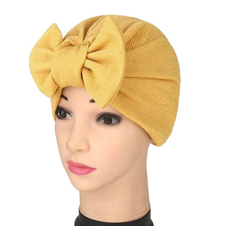 外贸热销帽子欧美爆款女士蝴蝶结印度套头头巾帽子穆斯林弹力头巾