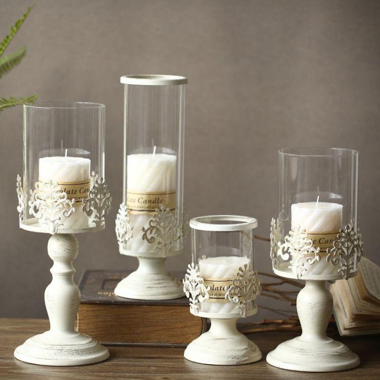 欧式古典白色刷金婚庆蜡烛家居装饰品艺铁金属大烛台自然风复古