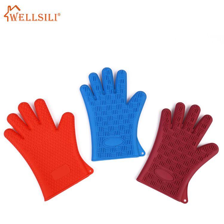 加厚防滑硅胶手套耐用硅胶隔热手套微波炉防热手套耐高温五指手套