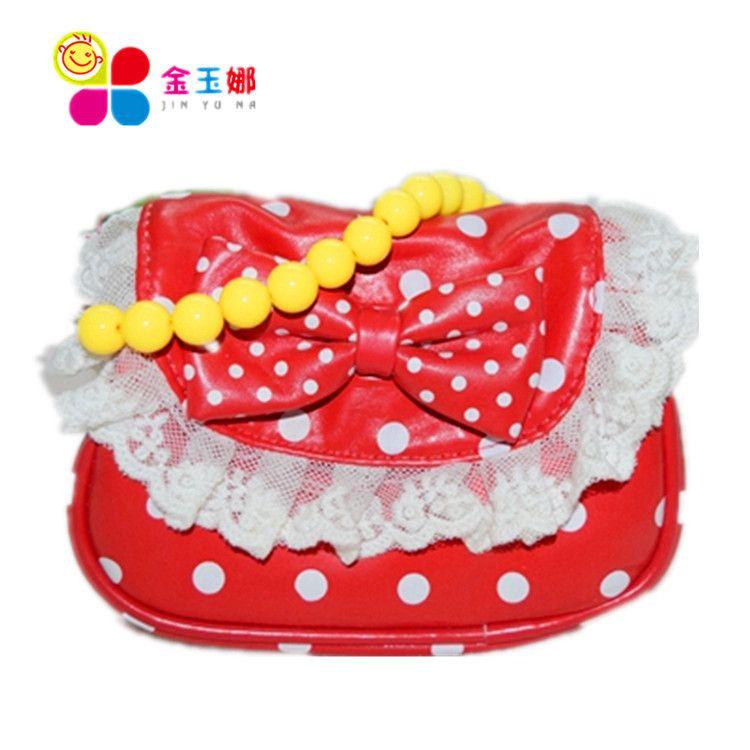 特价新款儿童包包韩版公主包可爱波点蝴蝶结斜挎包珠链斜跨包批发