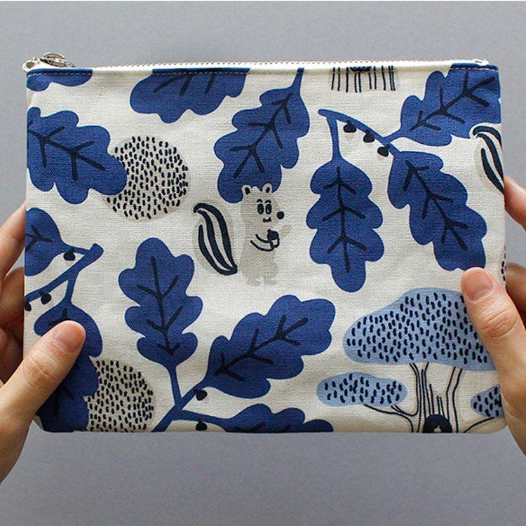 工厂OEM定制可爱化妆包 帆布手拿女式拉链收纳包 小清新图案印刷手拿包工厂定制
