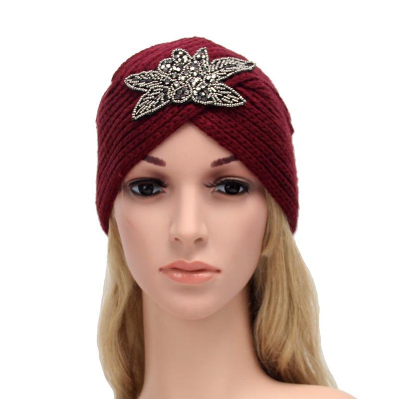厂家直销欧美流行速卖通热销四叶窜珠花毛线帽 手工印度帽子 头带