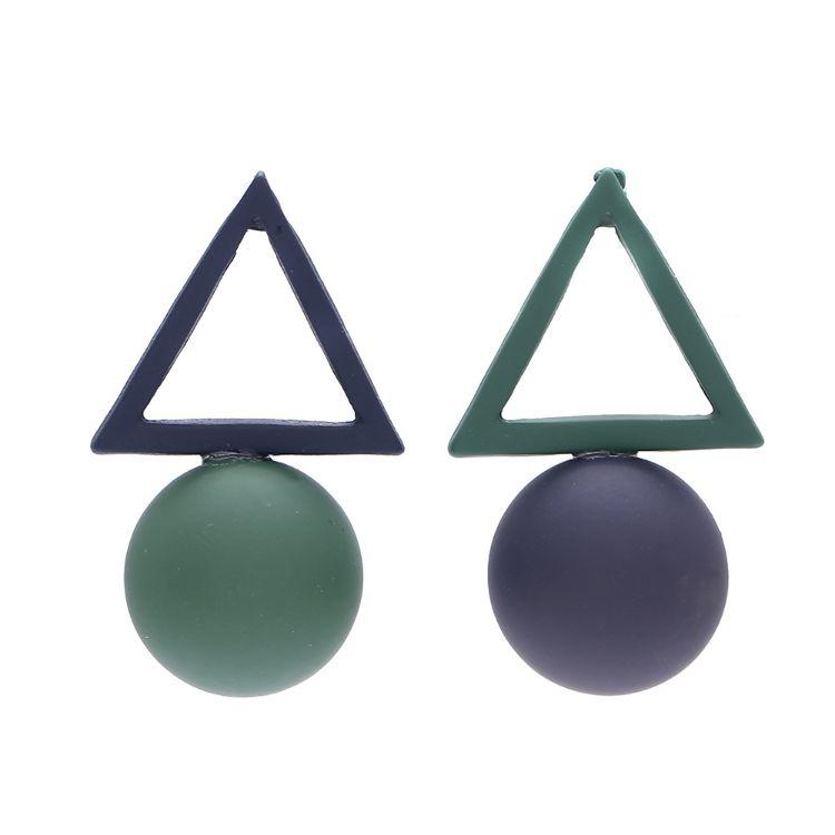 速卖通亚马逊wish爆款潮流几何三角圆不对称撞色耳坠
